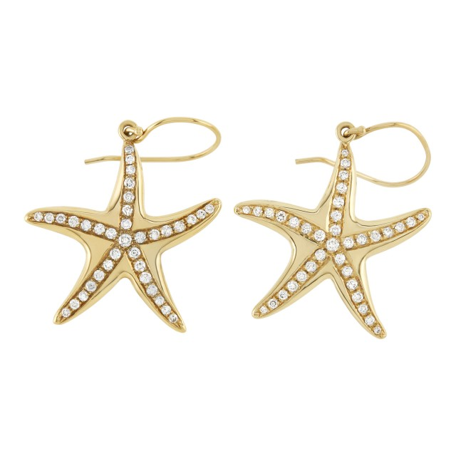 Pair of Gold and Diamond Starfish Pendant Earrings