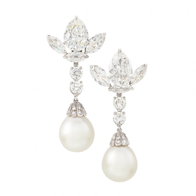 Pair of Platinum, Diamond and South Sea Cultured Pearl Pendant-Earrings
