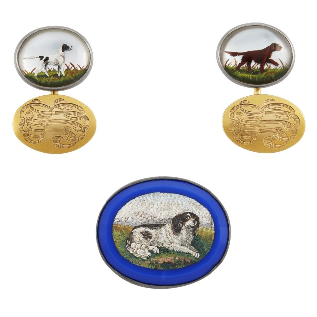 Pair of Two-Color Gold and Essex Hunting Dog Crystal Cufflinks, Kirkpatrick Co. and Silver Micromosaic Dog Pin