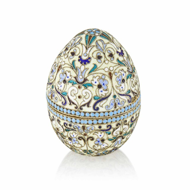 Russian Silver-Gilt and Cloisonné Enamel Egg