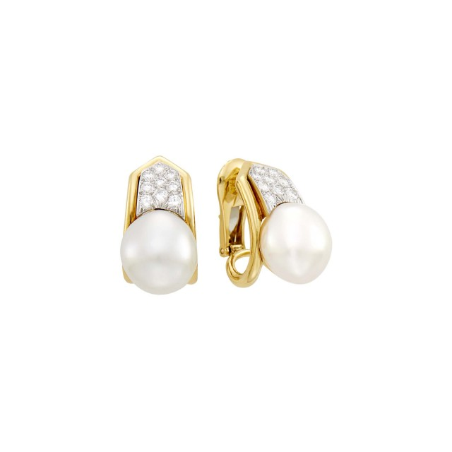 David Webb Pair of Gold, Platinum, Baroque Cultured Pearl and Diamond Earclips