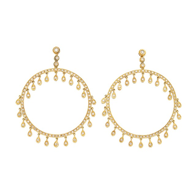 Pair of Gold and Diamond Hoop Fringe Earrings