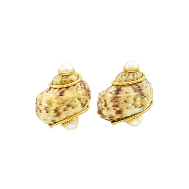 Seaman Schepps Pair of Gold, Shell and Cultured Pearl Earclips