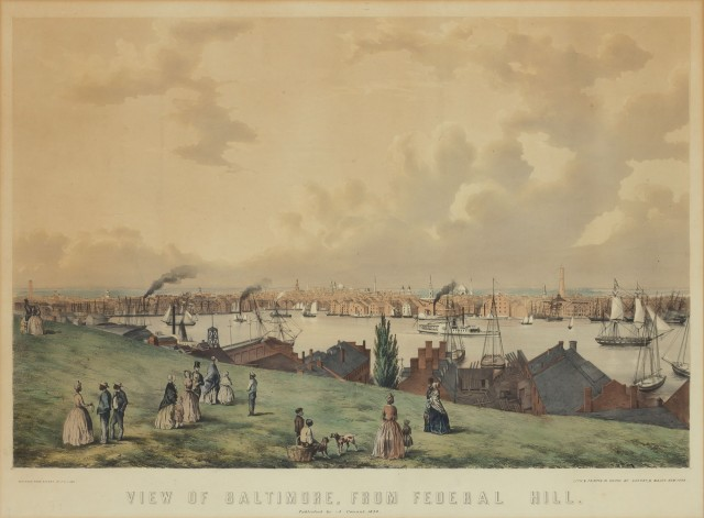 [BALTIMORE]  LANE, FITZ HENRY (after). View of Baltimore, from Federal Hill.