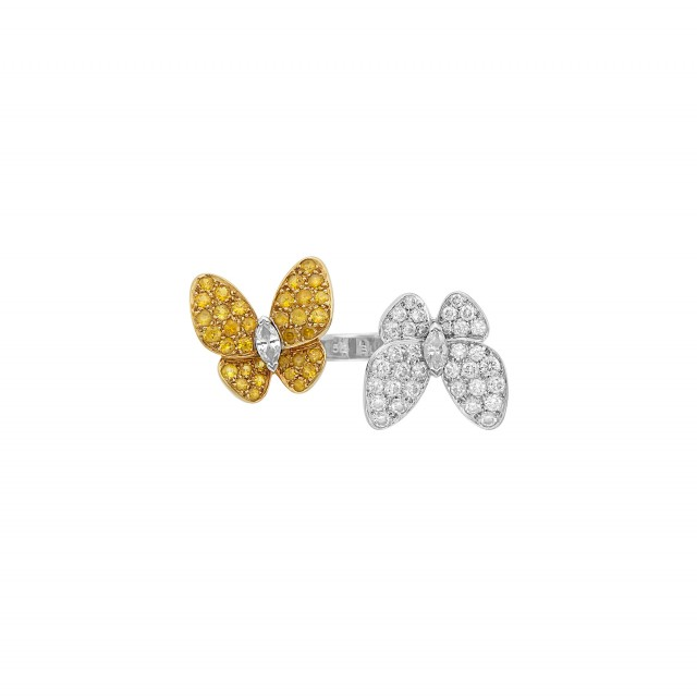 Two-Color Gold, Diamond and Yellow Sapphire 'Double Butterfly' Ring, Van Cleef & Arpels
