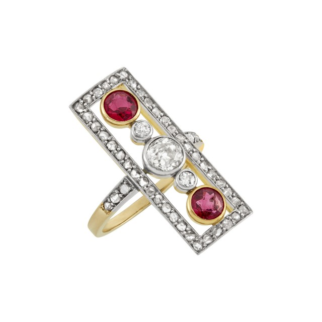 Platinum-Topped Gold, Red Spinel and Diamond Ring