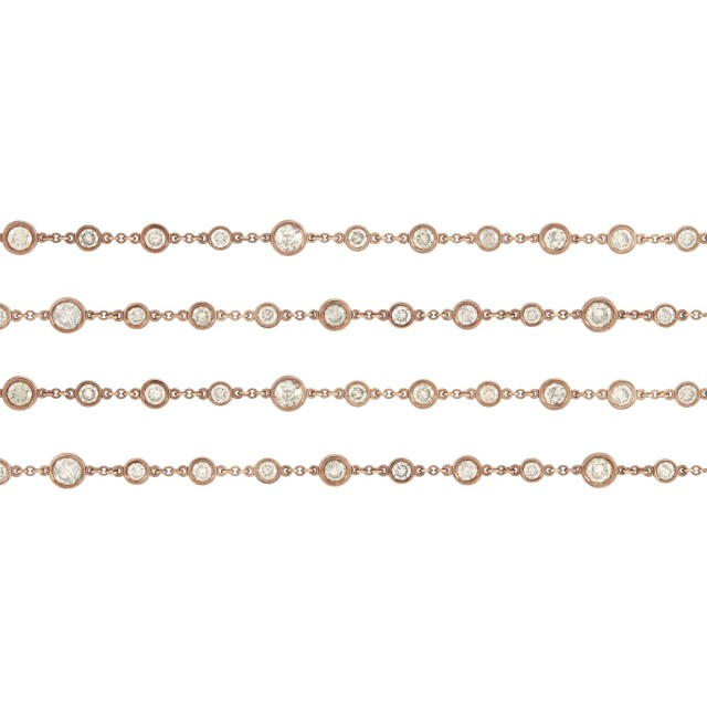 Long Rose Gold and Diamond Chain Necklace