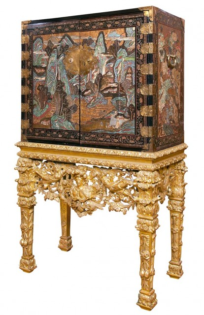 Chinese Polychrome Painted and Parcel Gilt Coromandel Black Lacquer Cabinet on a Continental Giltwood Stand