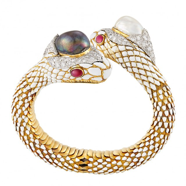 Gold, Platinum, Tahitian Grey and South Sea Cultured Pearl, Diamond, Ruby and Enamel Snake Bangle Bracelet, David Webb
