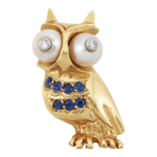 Gold, Cultured Pearl, Sapphire and Diamond Owl Pin, Ruser