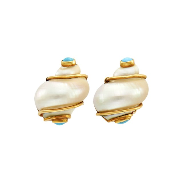 Seaman Schepps Pair of Gold, Shell and Turquoise Earclips