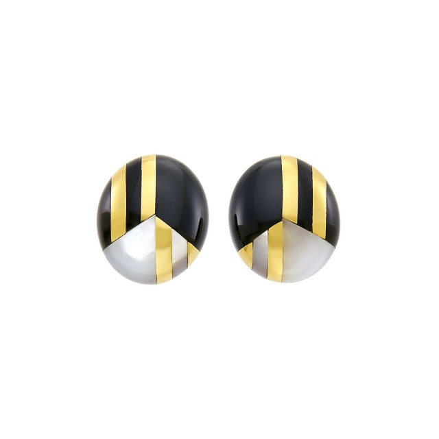 Tiffany and Co. Pair of Gold, Black Jade and Mother-of-Pearl Earclips