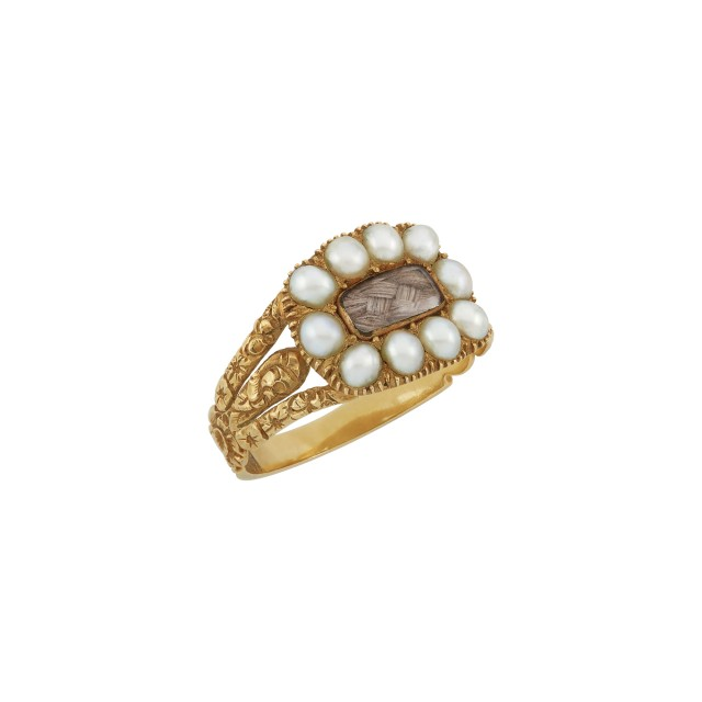Antique, Gold, Split Pearl and Hair Ring