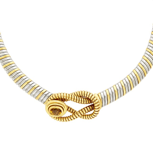 Cartier Gold, Stainless Steel and Citrine 'Hercules Knot' Necklace and Pair of Earclips