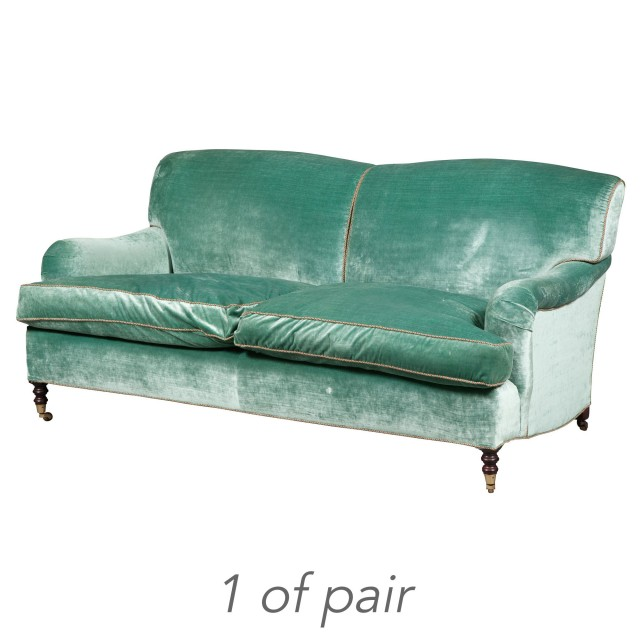 Pair of George Smith Velvet-Upholstered Sofas