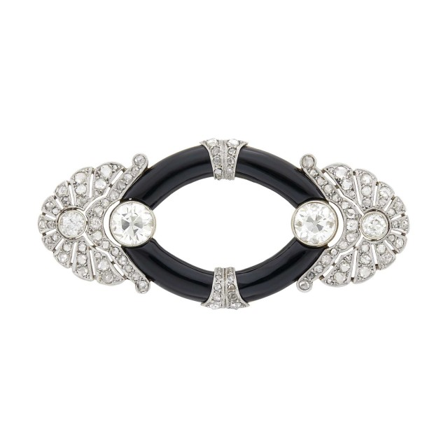 Platinum, Gold, Diamond and Black Onyx Brooch