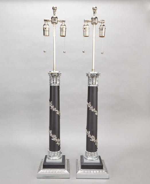 Pair of Neoclassical Style Patinated-Metal Columnar Lamps