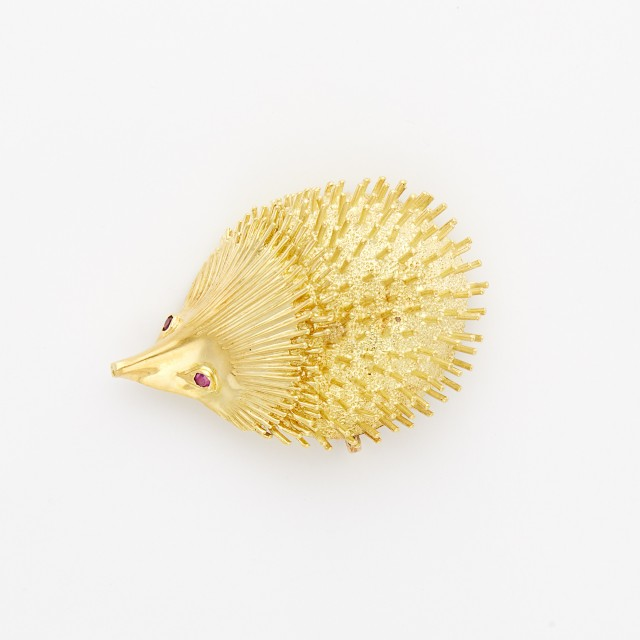 Gold and Ruby Porcupine Pin