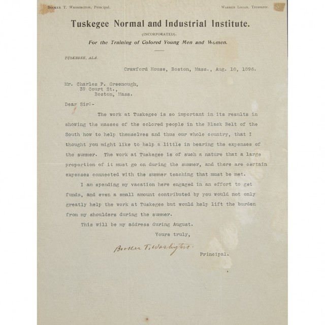 WASHINGTON, BOOKER T  Typed letter signed for Sale at