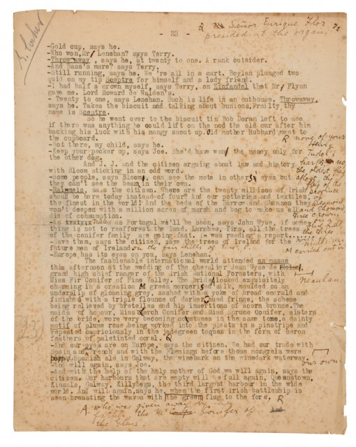 JOYCE, JAMES  Single typescript leaf, consisting of page 23 from the printer\'s typescript manuscript for Chapter Twelve of Ulysses.