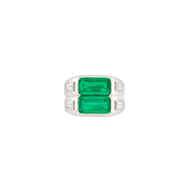 Platinum, Emerald and Diamond Gypsy Ring
