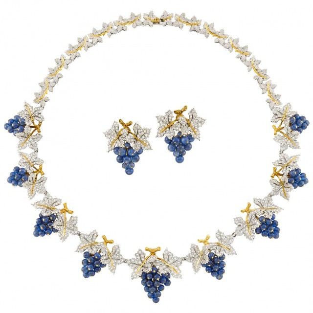Two-Color Gold, Diamond and Sapphire Grape Cluster Necklace, Buccellati, and Pair of Earrings, Gianmaria Buccellati