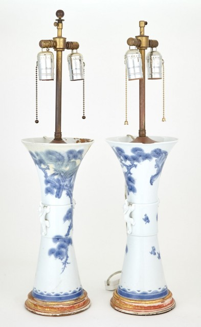 Pair of Japanese Blue and White Hirado Porcelain Vases Mounted as Lamps