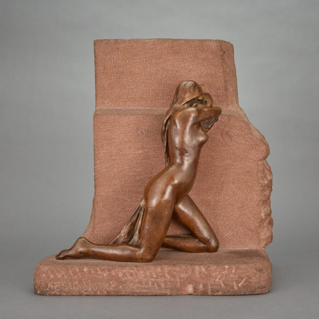 French Bronze and Red Sandstone Figure Entitled La Douleur