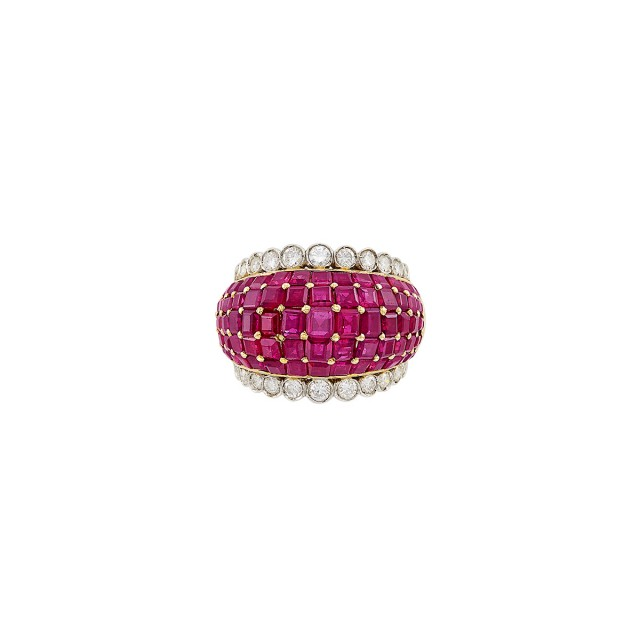 Two-Color Gold, Ruby and Diamond Bombé Ring