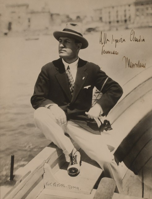 MUSSOLINI, BENITO  Inscribed photograph.