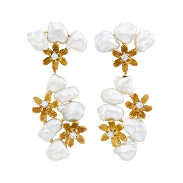 Pair of Gold, Baroque Keshi Freshwater Pearl and Diamond Flower Pendant-Earclips