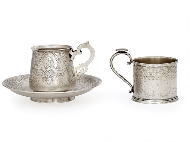 Russian Silver Tea Glass Holder; Together with a Russian Silver Cup and Saucer