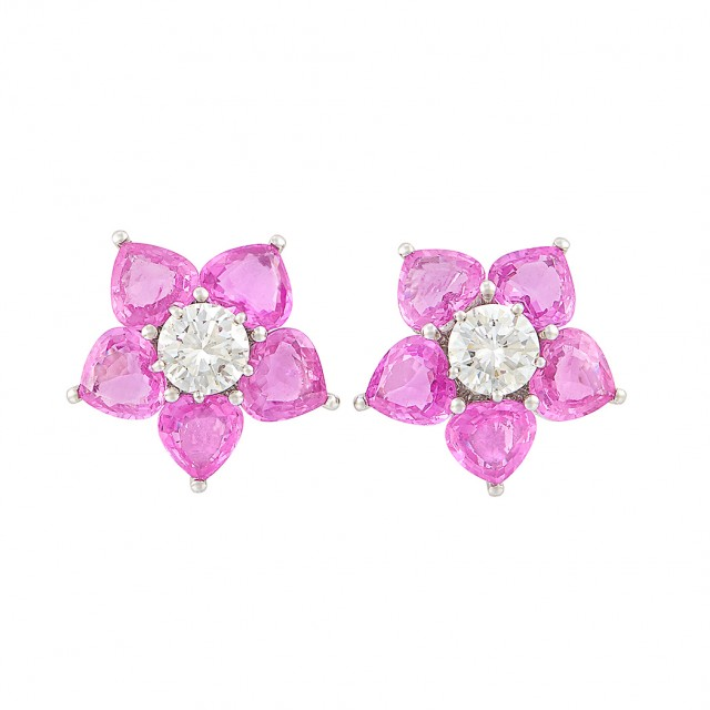 Pair of Platinum, Diamond and Pink Sapphire Earclips