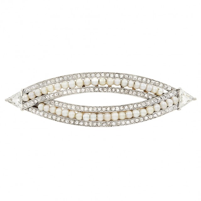 Platinum, Gold, Seed Pearl and Diamond Barrette