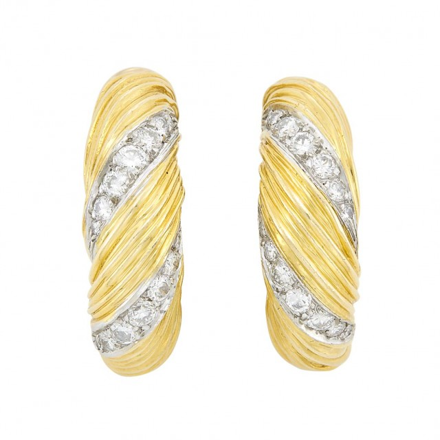 Pair of Two-Color Gold and Diamond Hoop Earrings, Kutchinsky