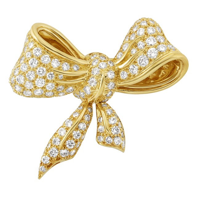 Gold and Diamond Bow Brooch