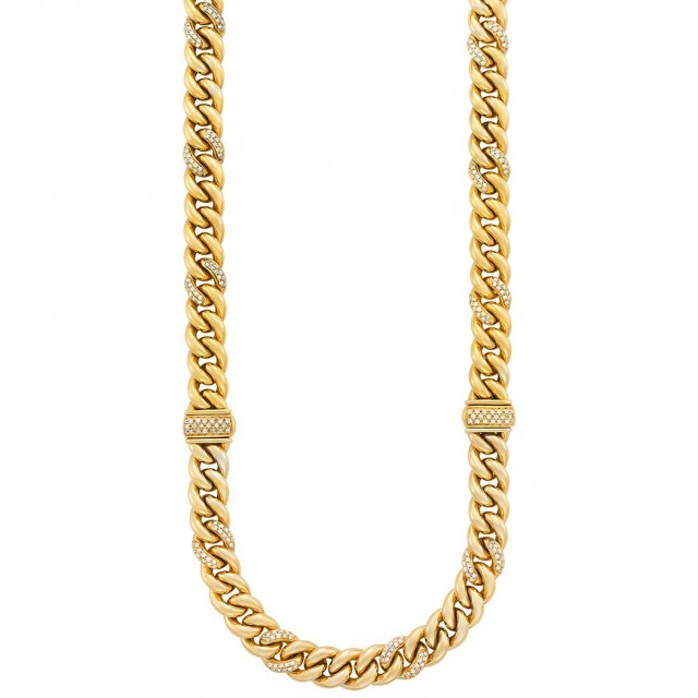 Gold and Diamond Curb Link Necklace/ Bracelets Combination