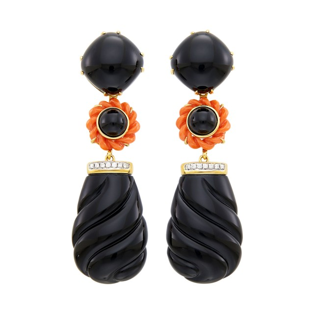 Pair of Gold, Fluted Black Onyx, Coral and Diamond Pendant-Earclips