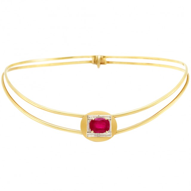 Gold, Ruby and Diamond Choker Necklace, France