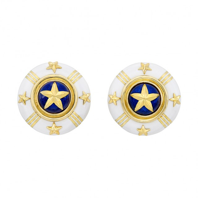 Pair of Gold and White and Blue Enamel Earclips, Cellini