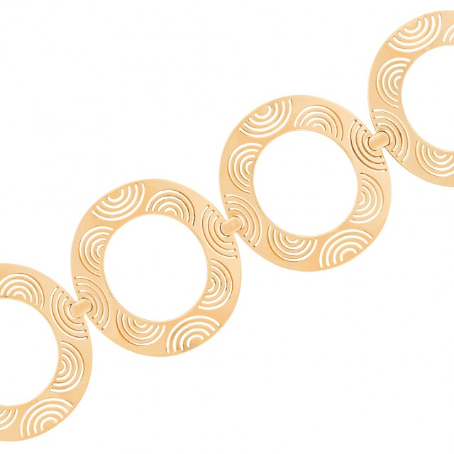 Wide Rose Gold Circle Link Bracelet, Enigma