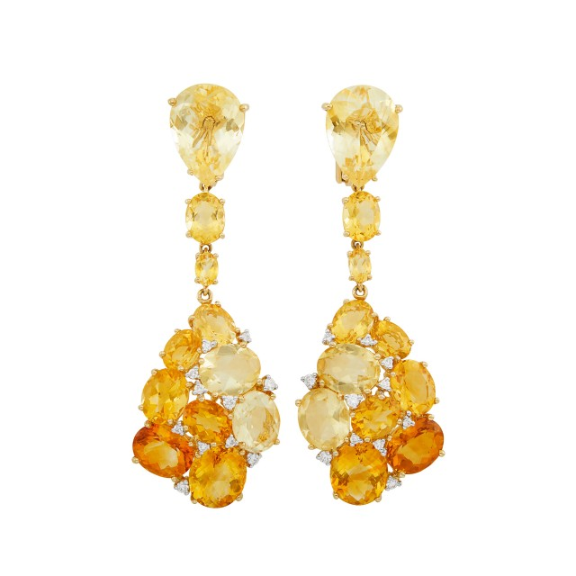 Pair of Gold, Citrine and Diamond Pendant-Earclips