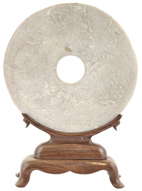 An Archaistic Chinese Calcified Jade Bi Disc