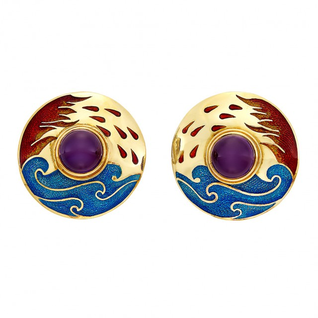 Pair of Gold, Cabochon Amethyst and Enamel Earclips, Cellini