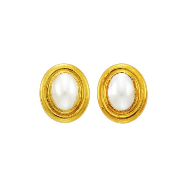 Tiffany and Co., Paloma Picasso Pair of Gold and Mabé Pearl Earclips