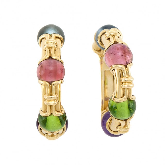 Pair of Gold and Gem-Set Bead Hoop Earrings, Bulgari