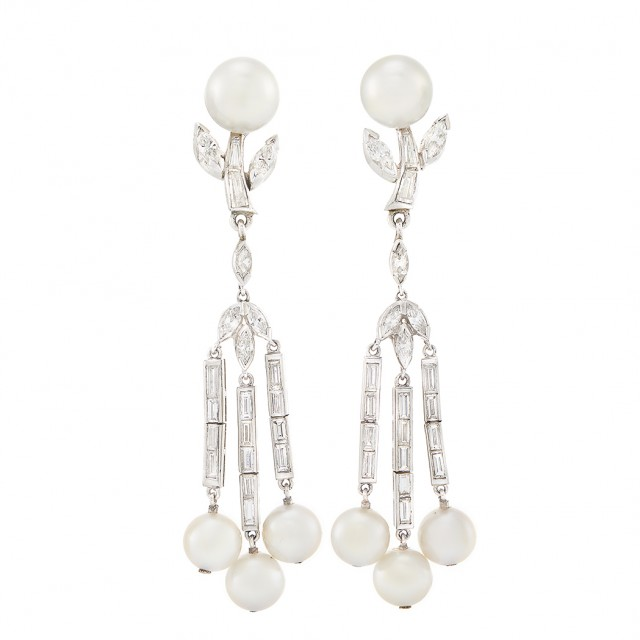 Pair of Platinum, Cultured Pearl and Diamond Fringe Earclips