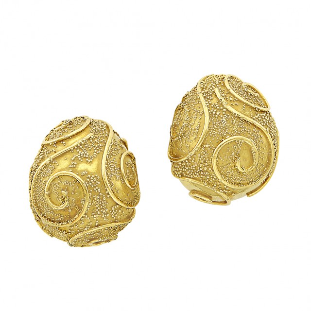 Pair of Gold Earclips, Elizabeth Gage