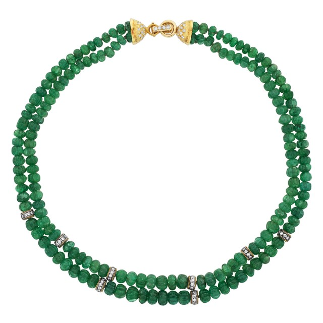 Double Strand Gold, Emerald Bead and Diamond Necklace