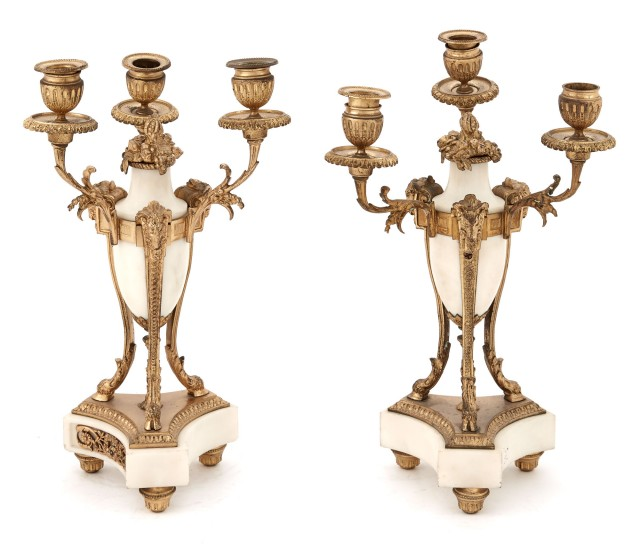 Pair of Louis XVI Style Gilt-Bronze and White Marble Three-Light Candelabra